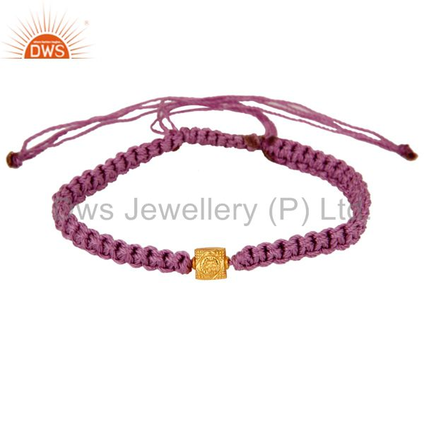 Exporter 18K Yellow Gold Shamballa Macrame Bracelet Jewelry - Purple Color Thread
