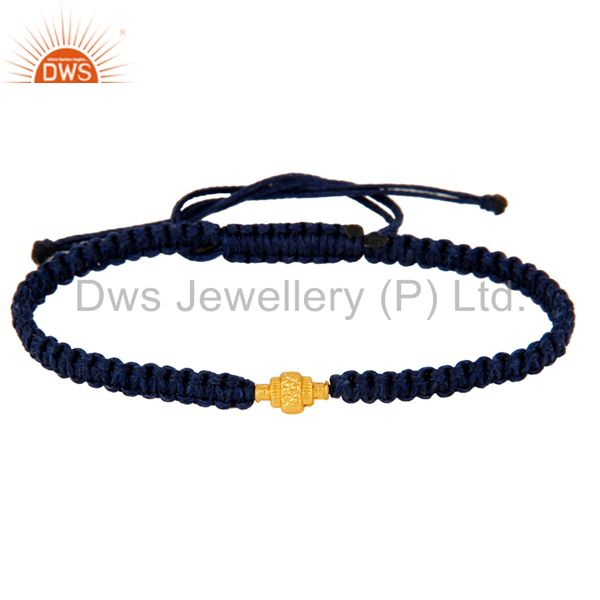 Exporter Solid 18K Yellow Gold Finding Blue Thread Macrame Adjustable Unisex Bracelet
