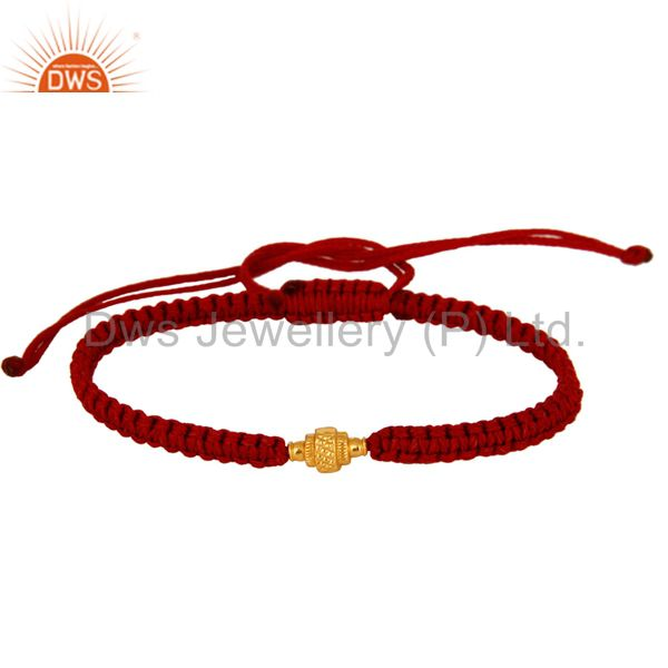 Exporter 18K Solid Yellow Gold Bead Macrame Fashion Bracelet Jewelry
