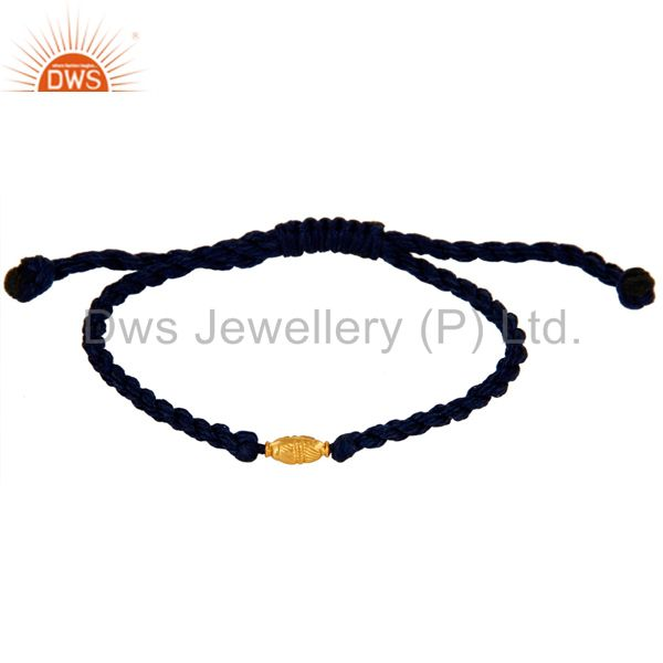 Manufacturer of 18k Solid Gold Beads Macrame Hemp Bracelet Womens Fashion Jewelry
