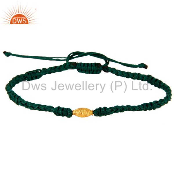 Exporter Genuine 18k Yellow Gold Beads Macrame Thread Bracelet Handmade Designer Jewelry