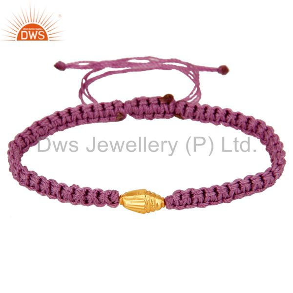 Exporter Macrame Patterns Fashion Bracelets With 18K Solid Yellow Gold Bead Finding
