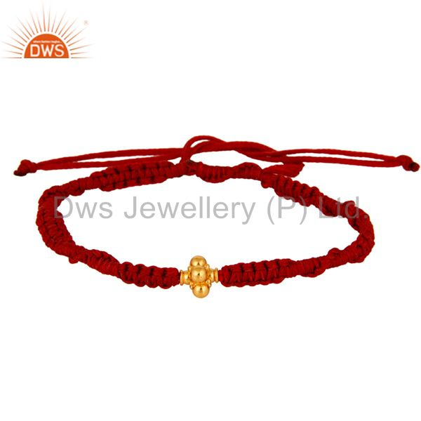 Exporter 18K Solid Yellow Gold Spheres Red Thread Macrame Fashion Bracelet Jewelry