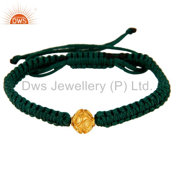 Exporter Solid 18K Yellow Gold Bead Macrame Friendship Knot Adjustable Bracelet