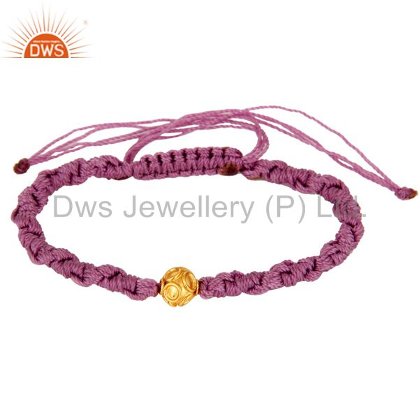 Manufacturer of Indian Handmade Macrame Bracelet With 18-Carat Yellow Gold Bead