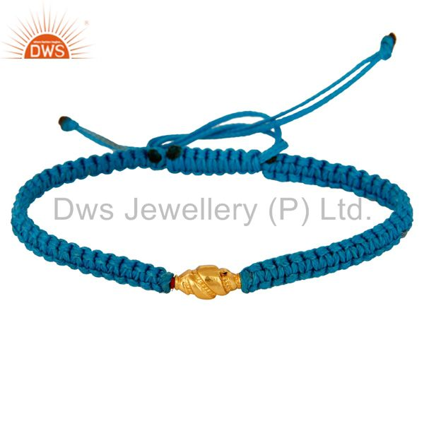 Wholesale Sky Blue Thread Adjustable Macrame Bracelet With 18K Yellow Gold Bead