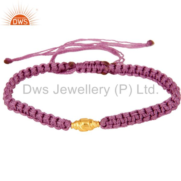 Wholesale Handmade Friendship Shamballa Macrame Bracelet With 18K Yellow Gold Jewelry