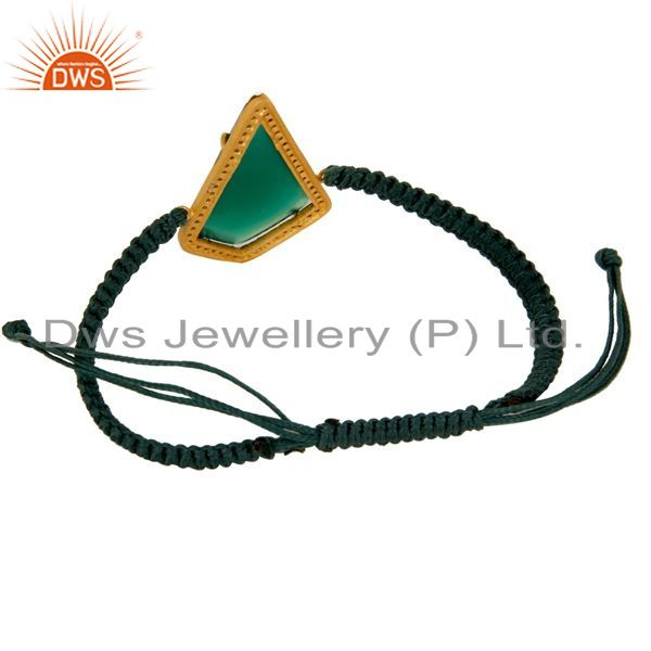 Exporter Green Onyx and Zircon 18K Gold Plated Sterling Silver Mecrame Bracelet