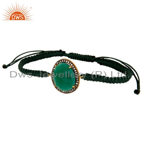 Exporter Faceted Green Onyx Gemstone And Cubic Zirconia Macrame Bracelet Jewelry