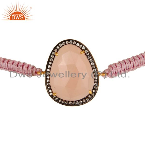 Exporter 14K Yellow Gold Plated Sterling Silver Rose Chalcedony And CZ Macrame Bracelet