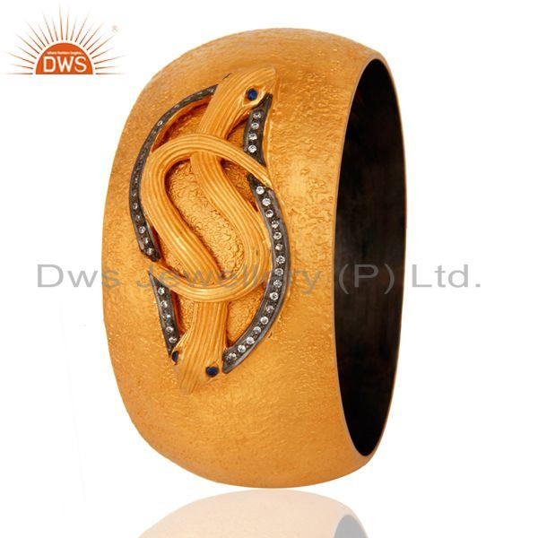 Supplier of 18k yellow gold silver white zircon vintage style snake wide bangle
