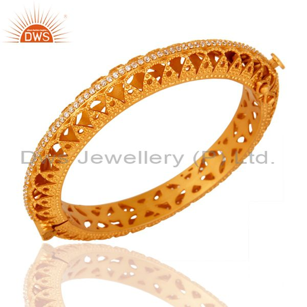 Exporter 18K Yellow Gold Plated 925 Sterling Silver Openable Bangle With Cubic Zirconia