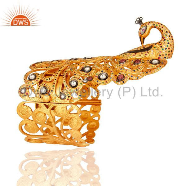 Supplier of Multi coloured cz peacock design unique silver bangle gold plated