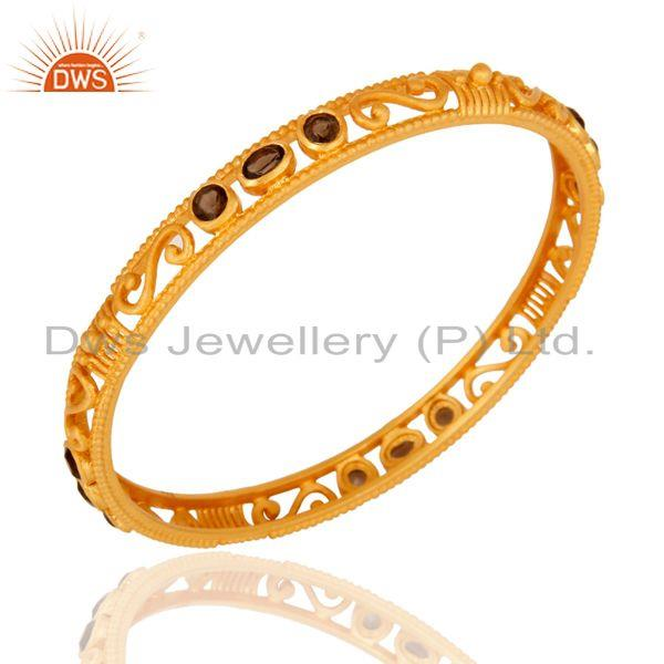 Supplier of 22k yellow gold plated sterling silver smoky quartz designer bangle