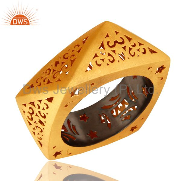 Supplier of 22k yellow gold plated sterling silver filigree designer bangle