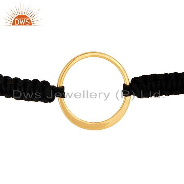 Exporter Yellow Gold Plated Sterling Silver Circle on Black Cord Macrame Bracelet