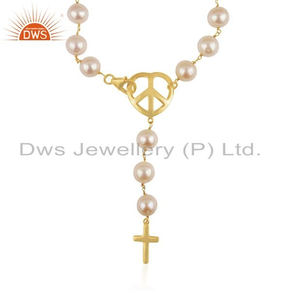 Exporter 18K Gold Plated Sterling Silver Natural Pearl Beads Peace Sign Charm Bracelet