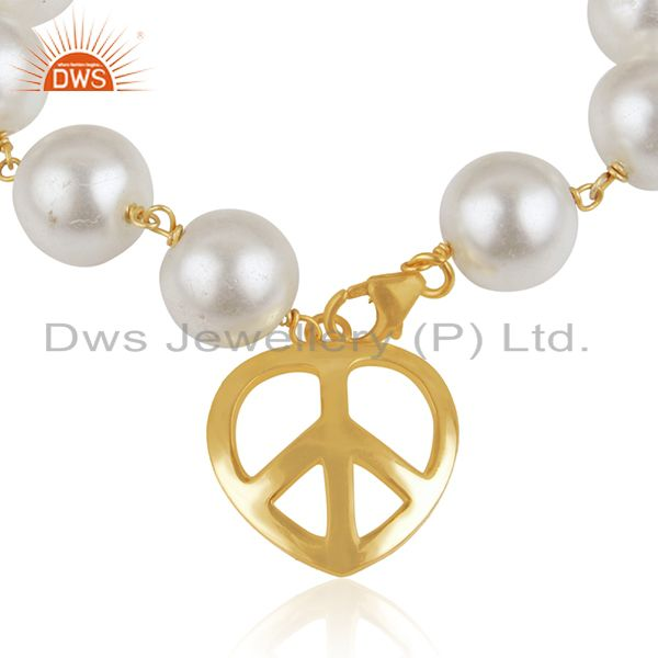 Exporter 18K Yellow Gold Plated Sterling Silver Pearl Beaded Bracelet With Peace Charms