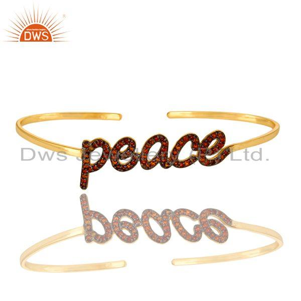 Exporter 18K Gold Plated Sterling Silver Citrine Cursive Style Peace Cuff Bangle