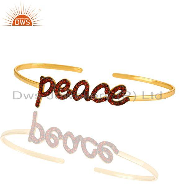 Exporter 18K Gold Plated Sterling Silver Cursive Style Peace Cuff Bangle With Garnet
