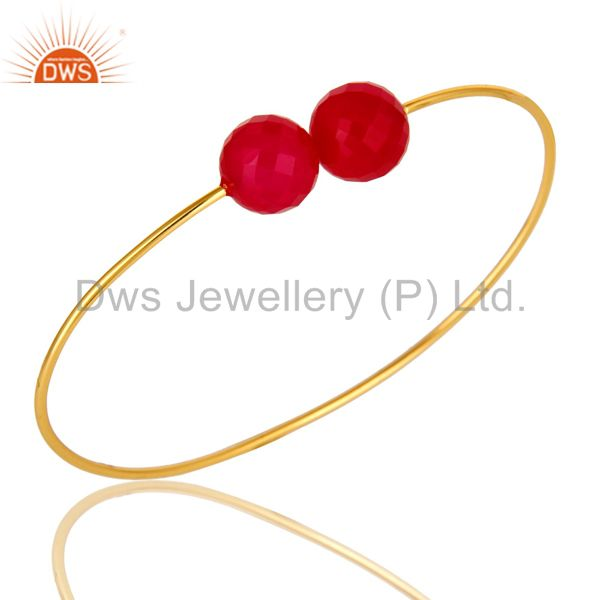 Exporter 14K Yellow Gold Plated Sterling Silver Faceted Pink Chalcedony Adjustable Bangle