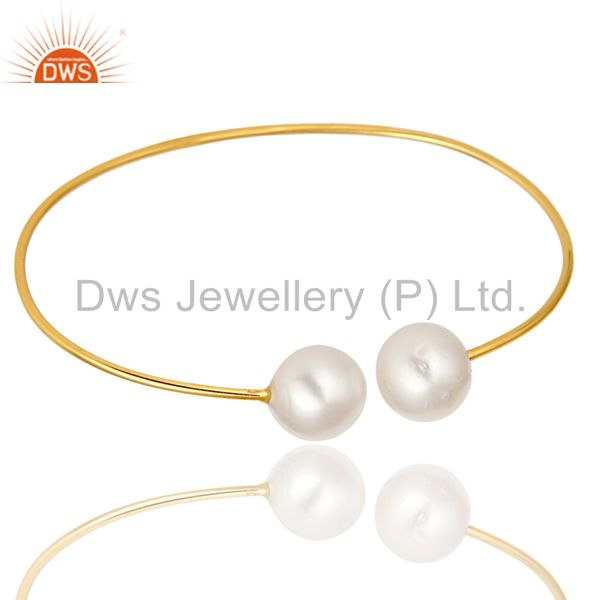 Exporter 14K Gold Plated Sterling Silver Natural White Pearl Stackable Open Bangle