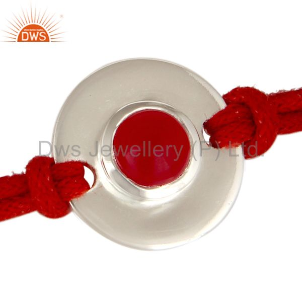 Exporter 925 Sterling Silver Red Chalcedony Disc Red Cord Macrame Adjustable Bracelet