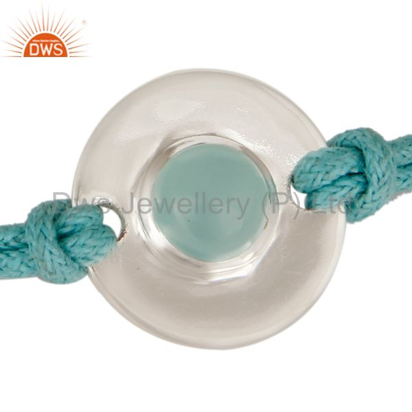 Exporter 925 Sterling Silver Blue Chalcedony Disc Cord Macrame Adjustable Bracelet