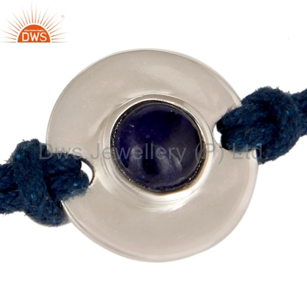 Exporter 925 Sterling Silver Blue Sapphire Disc Cord Macrame Fashion Adjustable Bracelet