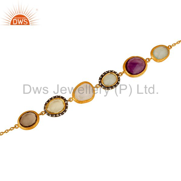 Exporter 22K Yellow Gold Plated Sterling Silver Multi Colored Gemstone Bracelet With CZ