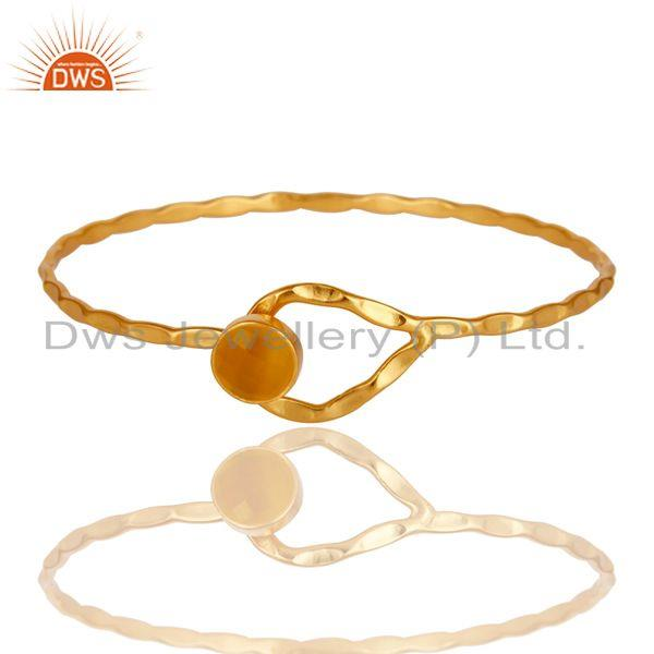 Supplier of Yellow moonstone 18k gold over sterling silver openable cuff bangle