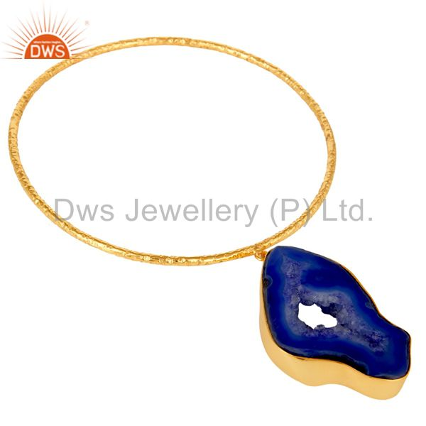 Supplier of Natural blue drusy 18k gold plated sterling silver gemstone bangle