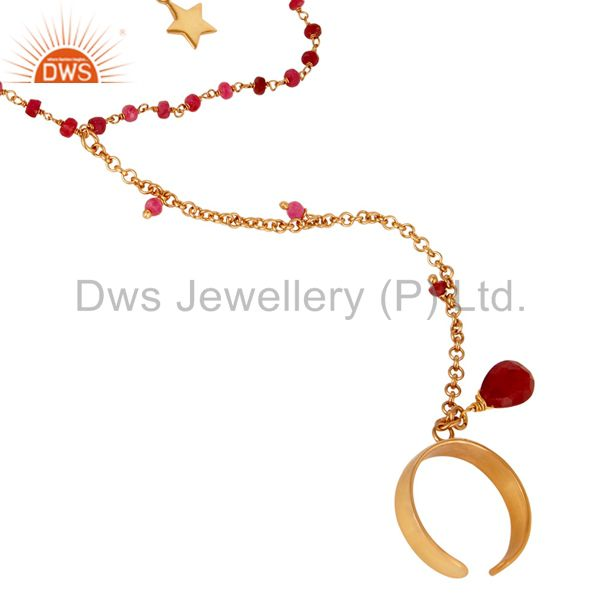 Exporter 24K Gold Plated Sterling Silver Natural Ruby Beads Chain Palm Bracelet Jewellery