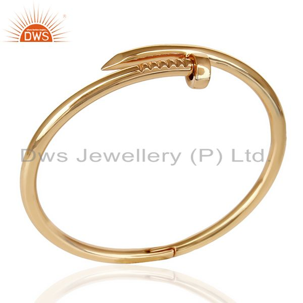 Supplier of Rose gold plated screw style cuff sterling silver cuff band bangle