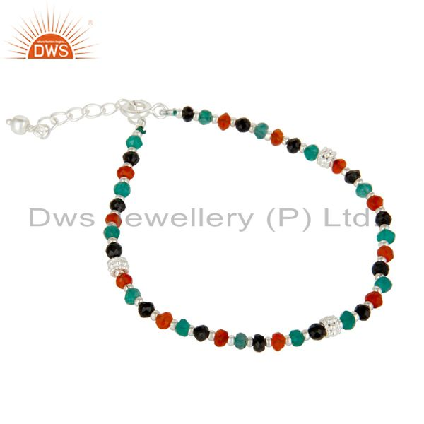 Exporter Handmade Solid 925 Sterling Silver Multi Color Onyx Beads Chain Bracelet