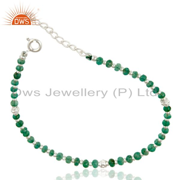 Exporter Handmade Solid 925 Sterling Silver Faceted Emerald Beads Chain Bracelet Jewelery
