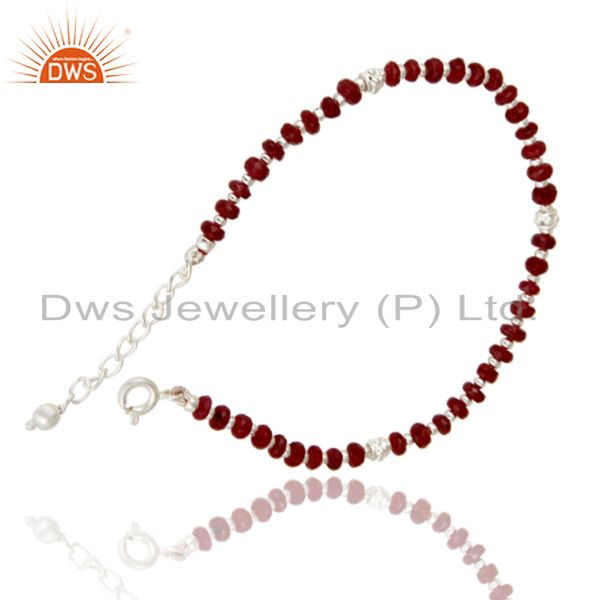 Exporter Solid 925 Sterling Silver Faceted Ruby Gemstone Beads Chain Bracelet