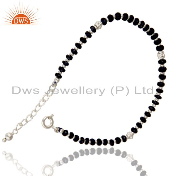 Exporter Solid 925 Sterling Silver Blue Sapphire Gemstone Beads Chain Bracelet