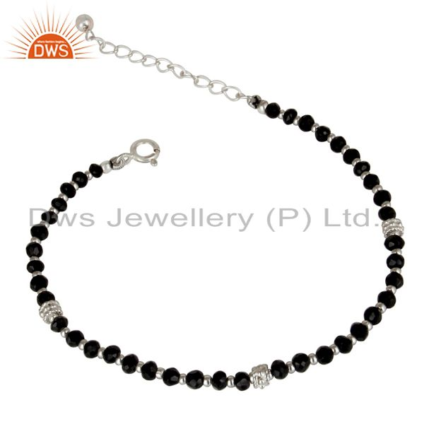 Exporter Solid 925 Sterling Silver Natural Black Onyx Gemstone Beads Chain Bracelet