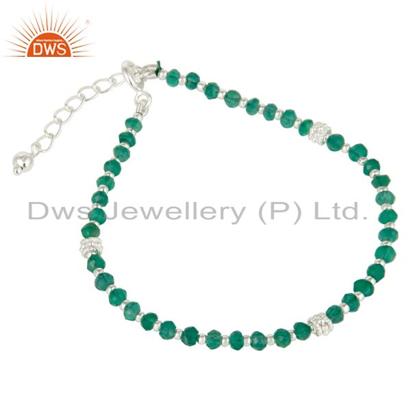 Exporter Handmade Solid 925 Sterling Silver Green Onyx Gemstone Beads Chain Bracelet