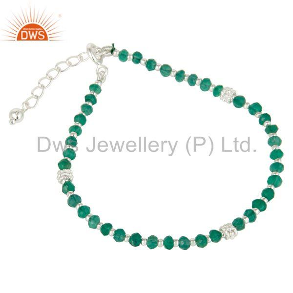 Exporter Green Onyx Beaded 925 Silver Gemstone Chain Bracelet Manufacturers