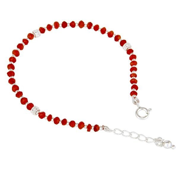 Exporter Handmade Solid 925 Sterling Silver Red Onyx Gemstone Beads Chain Bracelet