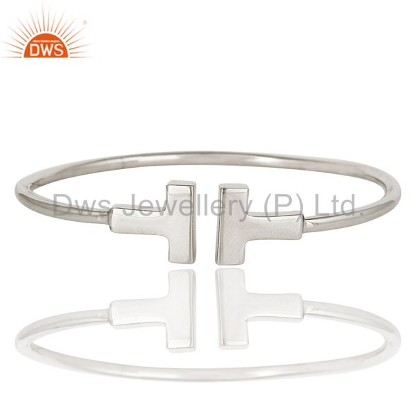 Exporter Narrow Wire T Shape 925 Sterling Silver Wire Cuffs Jewellery