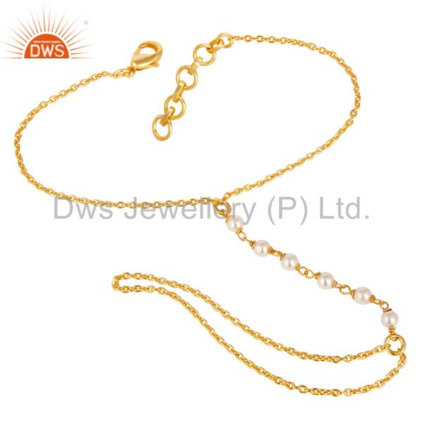 Exporter Traditional Handmade 18K Gold Plated Pearl Bead Brass Chain Bracelet Jewellery