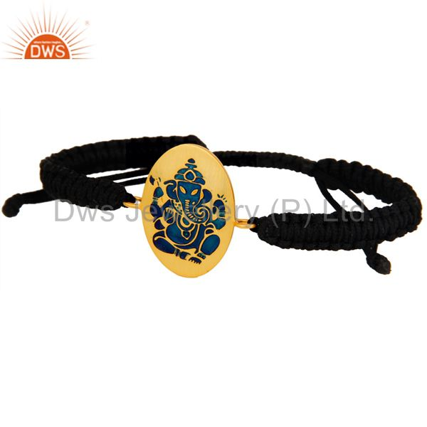 Exporter 18K Gold Plated Sterling Silver Indian God Ganesha Blue Enamel Macrame Bracelet