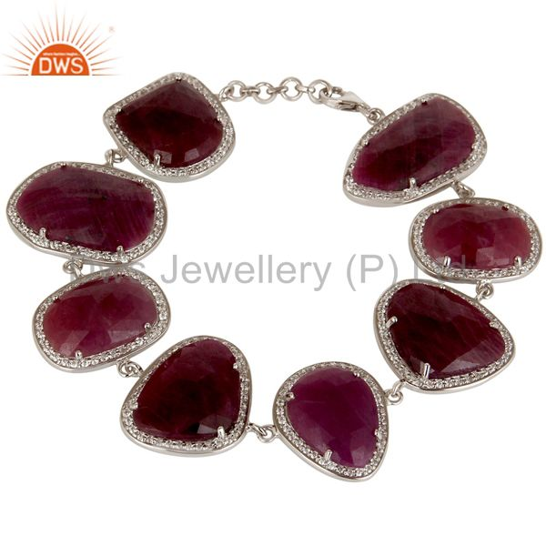 Exporter Handmade Solid 925 Sterling Silver Ruby Checkered & White Zirconia Bracelet