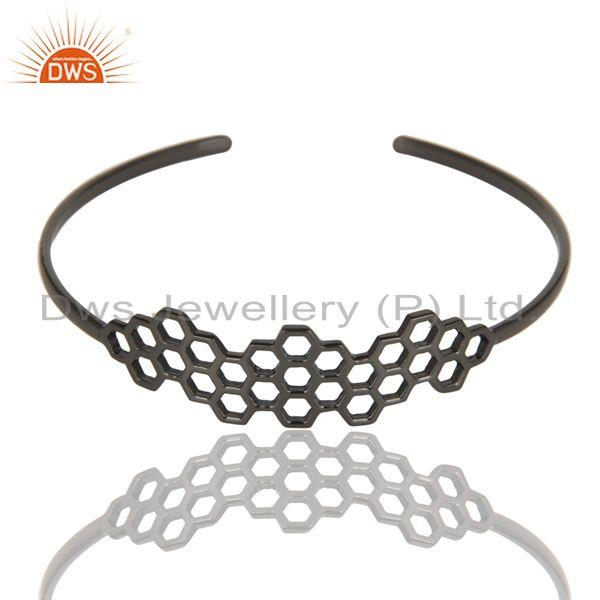 Supplier of Black oxidized 925 silver handmade new fashion openable palm bangle