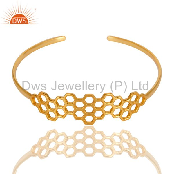 Supplier of 18k gold over 925 silver handmade new fashion openable palm bangle