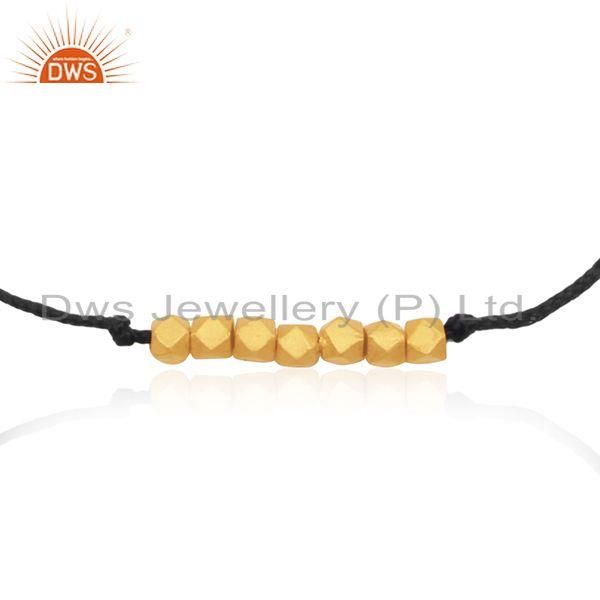 Exporter 14k Yellow Gold Plated 925 Silver Black Cord Adjustable Bracelet Manufacturer