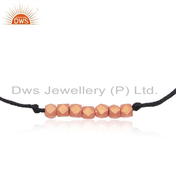 Exporter Rose Gold Plated Sterling Silver Beads Leather and Cord Bracelet Manufacturer